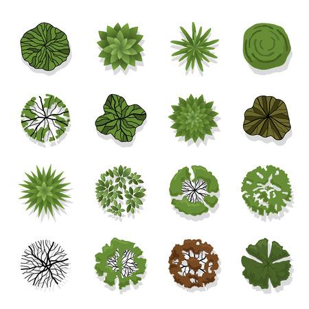 Illustration pour Trees top view for landscape illustration - image libre de droit
