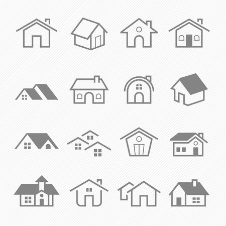 Ilustración de Home outline stroke symbol vector icons - Imagen libre de derechos