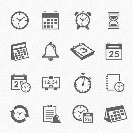 Illustration for Time and Schedule stroke symbol icons set. Vector Illustration. - Royalty Free Image