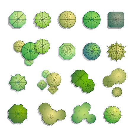 Ilustración de Trees top view for landscape design vector illustration - Imagen libre de derechos