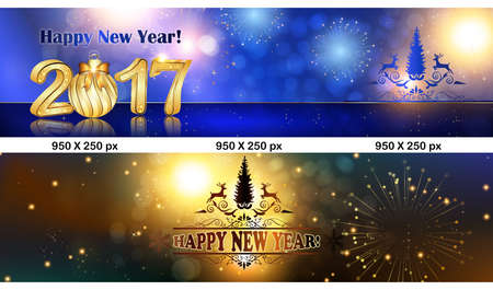 Foto de Christmas and New Year web Leaderboard banners. Space for your own advertising. Size 950 x 250 px - Imagen libre de derechos