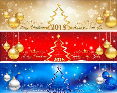 Foto de Happy New Year 2018 - three horizontal banners set - Imagen libre de derechos