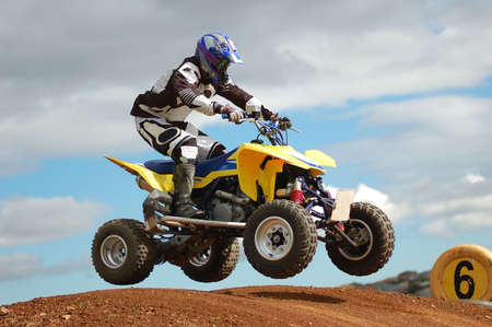 Quad bike racing, Airborne over a jump