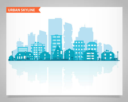 Illustration pour Cityscape set with various parts of a city. Small towns or suburbs and downtown silhouettes - image libre de droit