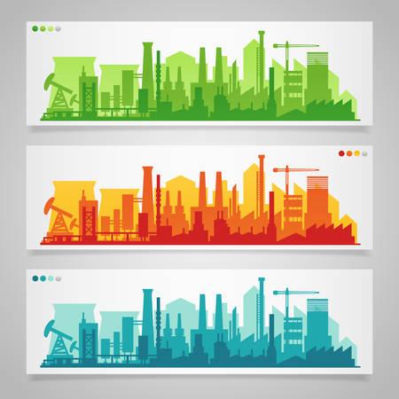 Illustration pour Vector horizontal banners with industrial part of city. Factories, refineries and power plants - image libre de droit