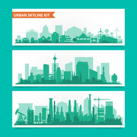 Ilustración de Vector horizontal banners skyline Kit with various parts of city. Factories, refineries, power plants and small towns or suburbs. Illustration divided on layers for create parallax effect - Imagen libre de derechos