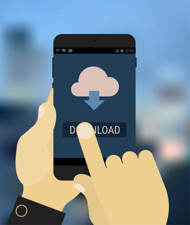 Illustration pour Flat design hands holding mobile device with downloading app, on trendy blurred background - image libre de droit