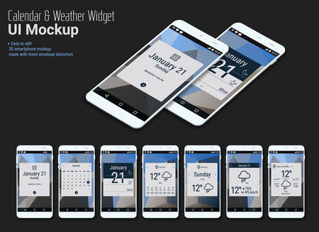 Illustration pour Flat design responsive calendar mobile app widgets UI designs, smartphone mockups with trendy polygonal backgrounds, with 3d isometric versions - image libre de droit