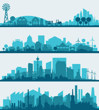 Ilustración de Abstract stylish cityscape infographics. Infographics elements collection with town, city, farm and industrial districts - Imagen libre de derechos