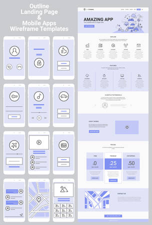 Illustration pour One Page Website and Mobile Apps Wireframe Kit - image libre de droit
