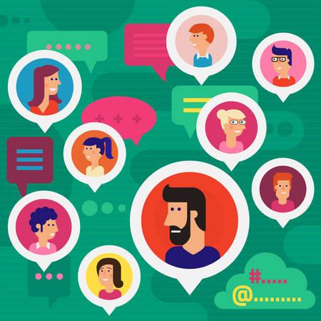Ilustración de Social Networks, Human Issues, Users Amount, Users Profiles, Global Chatting Concept - Imagen libre de derechos