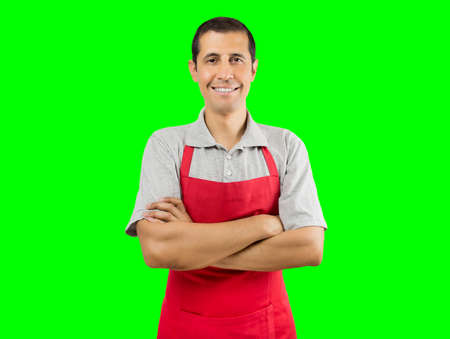Foto de portrait of shopman isolated cutout on green background with chroma key  - Imagen libre de derechos
