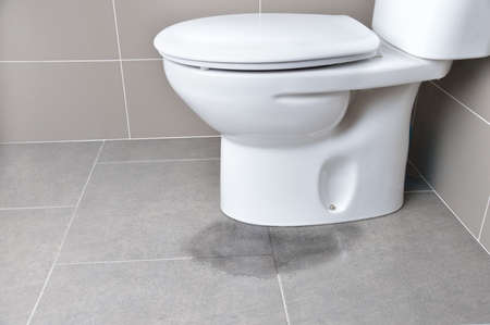 Foto de Leakage of water from a toilet due to blockage of the pipe - Imagen libre de derechos
