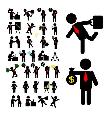 Illustration pour Businessman and Business Woman Pictogram Icons - image libre de droit