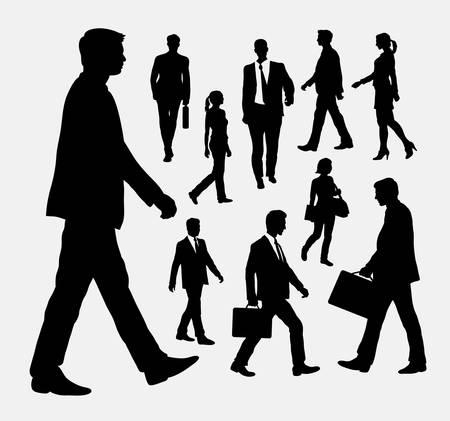Ilustración de People walking silhouettes - Imagen libre de derechos
