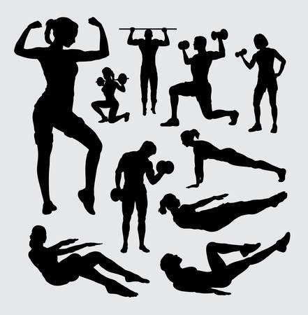 Ilustración de Fitness sport male and female silhouette - Imagen libre de derechos