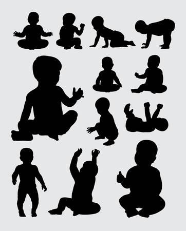Illustration pour Baby activity silhouettes - image libre de droit