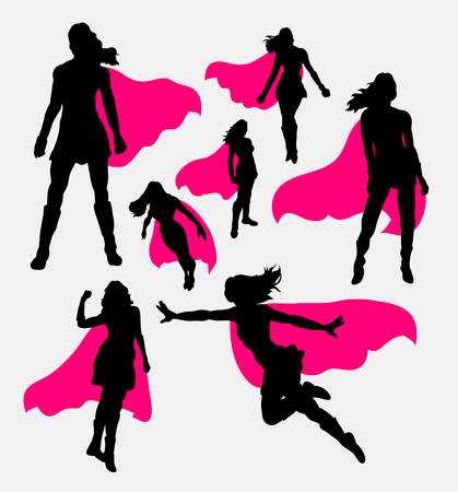 Illustration pour Female superhero silhouettes - image libre de droit