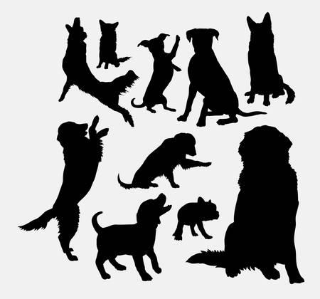 Ilustración de Dog and puppy animal silhouettes - Imagen libre de derechos