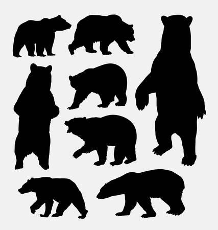 Illustration pour Bear wild animal silhouettes - image libre de droit