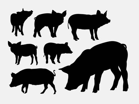 Ilustración de Pig animal silhouettes - Imagen libre de derechos