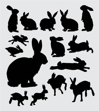 Illustration pour Rabbit action silhouettes - image libre de droit