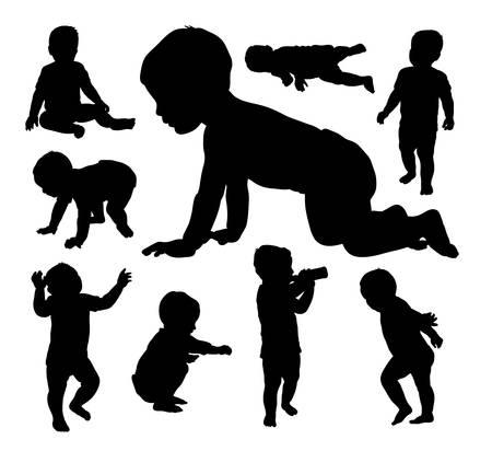 Illustration pour Baby playing silhouettes - image libre de droit