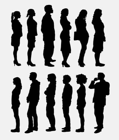 People standing queue silhouettes