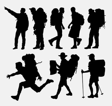 Illustration pour People hiking silhouettes - image libre de droit