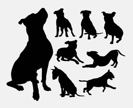 Illustration pour Pitbull, bulldog, terrier, dog animal silhouettes - image libre de droit