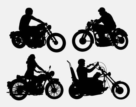 Illustration pour Male and female riding vintage motorcycle silhouettes - image libre de droit