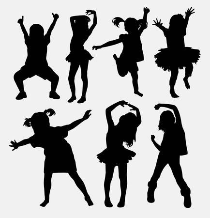 Ilustración de Kid, little girl dancing silhouettes - Imagen libre de derechos