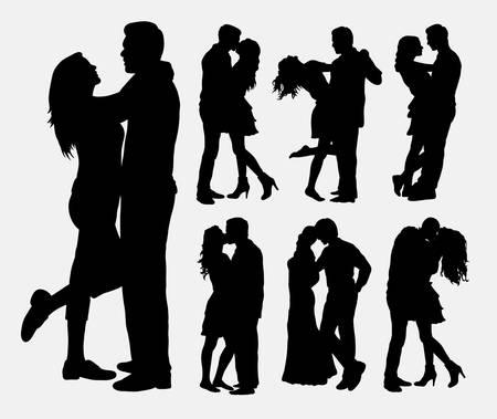 Ilustración de Couple loving people silhouettes - Imagen libre de derechos