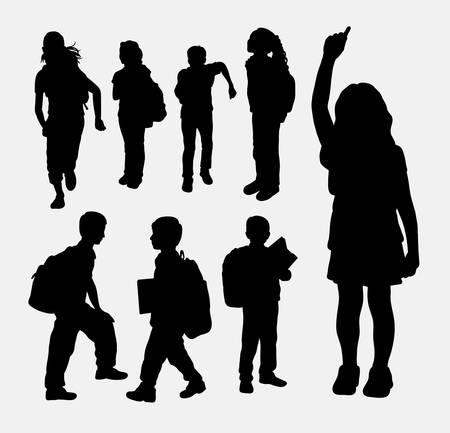 School girl and school boy activity silhouette. Good use for symbol, web icon, logo, game element, mascot, or any design you want. Easy to use.