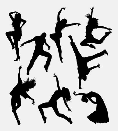 Ilustración de Modern dance, male and female silhouette. Good use for symbol, web icon, logo, game element, mascot, or any design you want. Easy to use. - Imagen libre de derechos