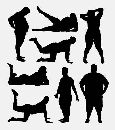 Fat people silhouettes. Good use for symbol, logo, web icon, mascot, or any design you want. Easy to use.