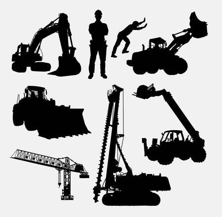 Photo pour Construction silhouettes. Good use for symbol, logo, web icon, mascot, or any design you want. Easy to use. - image libre de droit