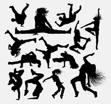 Illustration for People dance pose, male and female silhouettes. - Royalty Free Image