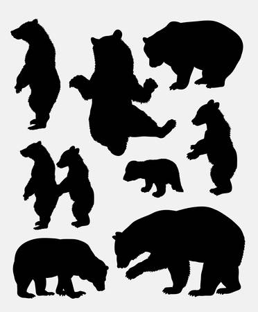 Illustration pour Bear wild animal silhouette 3. Good use for symbol,  , web icon, mascot, sign, sticker, or any design you want. Easy to use. - image libre de droit