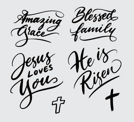 Ilustración de Set of religious handwriting typography - Imagen libre de derechos