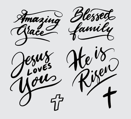 Illustrazione per Set of religious handwriting typography - Immagini Royalty Free