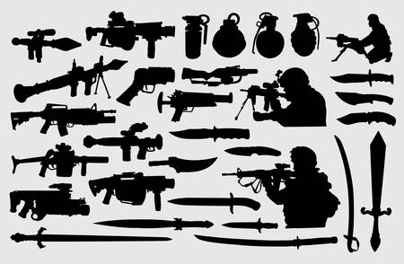 Illustration pour Weapon, gun, knife, sword and soldier. Good use for symbol, logo, web icon, mascot, sign, or any design you want. - image libre de droit