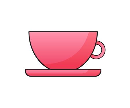 Ilustración de Pink cup with saucer flat vector illustration on white background. Magenta mug for logotype, icon, mobile app, web and user interface design. - Imagen libre de derechos