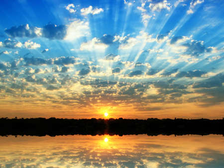 Photo for Sunrise in the summer at small overcast - Royalty Free Image