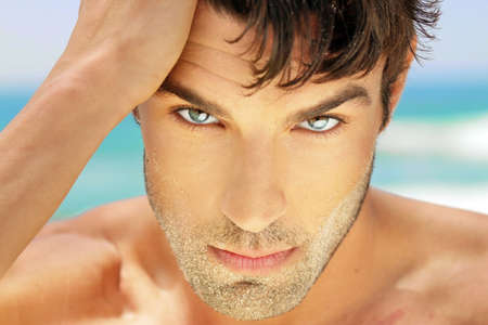 Photo for Highly detailed close-up portrait of handsome man with beautiful eyes - Royalty Free Image