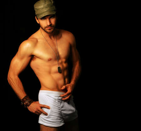 Photo for Provocative portrait of ultra masculine male model in underwear with copy space - Royalty Free Image