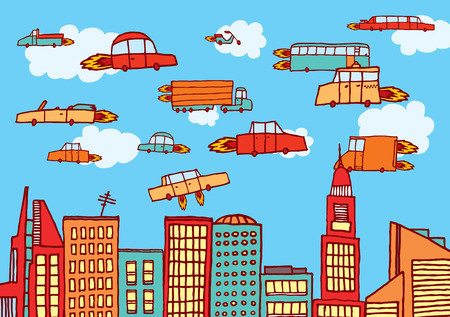 Illustration pour Cartoon illustration of future urban air transportation or flying cars - image libre de droit