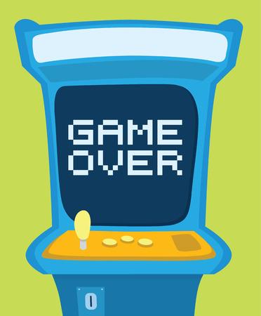 Illustration pour Cartoon illustration of an arcade machine showing game over message - image libre de droit