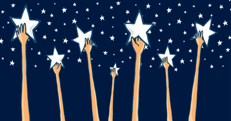 Illustration pour Cartoon illustration of group of hands reaching for the stars seeking success or catching dreams - image libre de droit