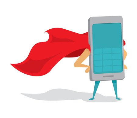 Illustration pour Cartoon illustration of mobile phone or super cellphone hero with cape - image libre de droit